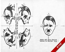 WWII ANTI HITLER FOLDING PIG PROPAGANDA POSTER PAINTING REAL CANVAS ART PRINT