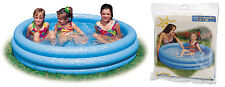 Intex 3 Ring Crystal Blue Paddling Pool Kids Swimming Pool Childrens Play Pool