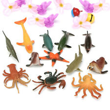 12PCS Multi-color Lifelike Plastic Kids Toy Model Sea Animal Figures Toy Kit Set