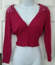 Betsey Johnson Pink Sequin Sweater Cardigan size Large