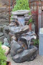 Springbrunnen Jibei Wasserfall Brunnen inkl. Pumpe LED Beleuchtung 59/47/h100 cm