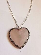 TARINA TARANTINO LIGHT GREY CRYSTAL PAVED HEART NECKLACE