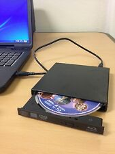 USB Blu Ray Player - 4x BD-ROM - External Black BD Drive for Dell HP PC Notebook