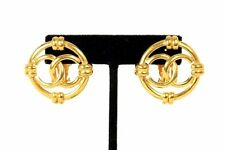 CHANEL Vintage 1992 Gold Metal Logo CC Art Deco Clip Earrings
