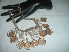 VINTAGE GOLDEN ROMAN COIN BIB NECKLACE IN GIFT BOX