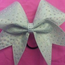White with Crystal AB Scattered Rhinestones Cheer Bow BlingItOnCheerBows