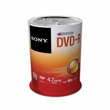 100 SONY Blank DVD-R DVDR Silver Logo Branded 16X 4.7GB Media Disc 100pk Spindle