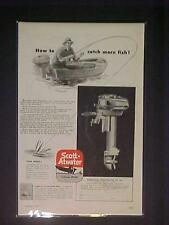 OLD~SCOTT-ATWATER FISHING BOAT OUTBOARD MOTOR ART PRINT AD~ORIGINAL ANTIQUE 1947