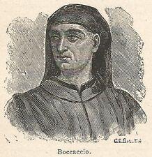 A6604 Boccaccio - Stampa Antica del 1924 - Xilografia