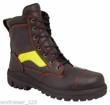 SIZE 10.5 OLIVER 66360 FIRE-FIGHTERS STYLE LACE-UP WORK BOOTS HI-VIS STRIPE