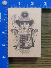 "ACEY DEUCY rubber stamp ""SUMMER"" WOMAN HAT WINGS ALTERED COLLAGE XX-RARE"