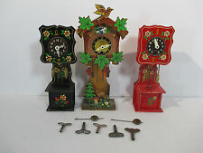 German Cuckoo Clocks Grandfather Pendulum Engstler Hauser Hand Painted Set of 3