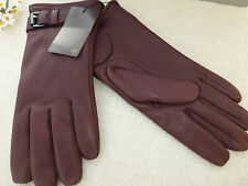 BNWT Authentic MULBERRY Cashmere Lined Oxblood Deerskin Leather Gloves  size M
