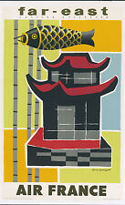LINEN- ORIGINAL Vintage Airline Travel poster AIR FRANCE- FAR EAST Orient JAPAN