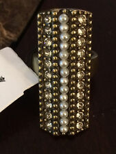"""SILPADA NWT! Swarovski Crystals Brass Size 6.5 """"Pearls Night Out"""" Ring KRR0024"""