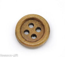 150 Coffee Wood Sewing Buttons Scrapbooking 15mm