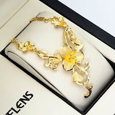 """Womens 24k Yellow Gold Filled Flower Necklace 20"""" Charms Chain Luxury Link"""