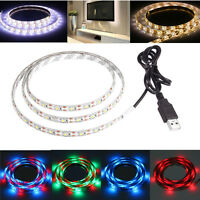 USB LED Strip Light SMD Warm Cool White RGB Multi-colour TV Background Lighting