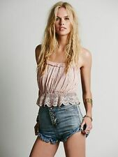 00435 New Free People Sands Crop Top Crochet Lace Smocked Cotton Tank Blouse M