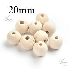 30 x 20mm wood beads natural wooden ball unpainted round jewellery findings