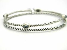 David Yurman Confetti 4 Station Bangle Bracelet Set Hematite/Silver Size S NWT
