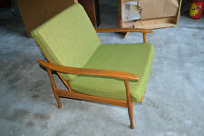 Vtg Mid Century Danish Modern Wood green cushion Lounge Chair
