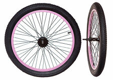 "20"" INCH BMX BIKE WHEELS (PAIR) 18 tooth PINK/BLACK with TYRES COMPLETE SET"