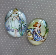 2 pcs 30x40mm Domed Oval Cabochons Character cabochon