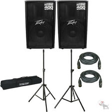 """(2) Peavey PV115D 15"""" 800W Active Powered Speakers+2 Stands+2Cables+Carry Case"""