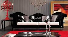 A&X AX028 Transitional White Leather and Black Fabric 4-Seater Sofa