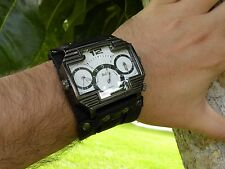 Men's Triple Time Zone Military Army Quartz Sport Wrist Watch Bracelet Buffalo