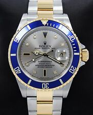 Rolex Submariner 16613T Two Tone 18k Y Gold/SS Serti Blue Sapphires & Diamonds