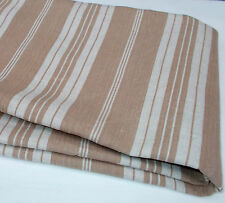 Antique French Striped Mattress Ticking. Herringbone Weave Biscuit & Off White