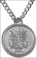 Janus 2 Sided Pendant with Chain in Silver-plate Janus Symbol Charm Necklace