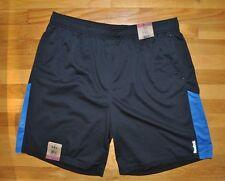 NWT Mens REEBOK Black Blue Stripe Exercise Active Athletic Shorts Sz 3XL XXXL