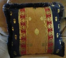 Blue Brown Red Stripes Gold Geometric Design Fringe Pillow W/ Zip Cover Square