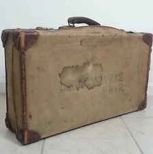 Vtg Canadian Military WWII 1943 Navy Army Suitcase Canvas Leather Bag Papworth