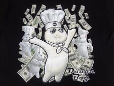 "PILLSBURY SPOOF- ""BILLSBURY - DOUGH BOY"" THROWING MONEY - 4XL BLACK T-SHIRT T478"
