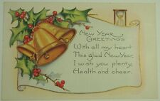 Vintage New Year's Card featuring gold bells and an hour glass