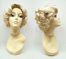 Blonde 50s Short Curly Wig Marilyn Monroe Style Vintage Retro Costume