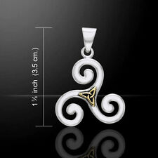 Celtic Triskele Silver and Gold Pendant by Peter Stone