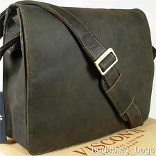 NEW VISCONTI VINTAGE STYLE  HUNTER OIL BROWN LEATHER BRIEFCASE MESSENGER BAG