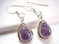 Amethyst Earrings 925 Sterling Silver with Groove Accents Dangle Drop New