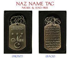 """NAZ"" Mens Arabic Name Necklace Tag - Birthday Wedding Ayatul Kursi Eid Gifts"