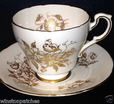 PARAGON GOLDEN GLORY FOOTED CUP & SAUCER 8 OZ GOLD FLOWERS ON WHITE GOLD TRIM