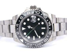 PARNIS SUBMARINER GREEN GMT HAND BLACK CERAMIC BEZEL SAPPHIRE AUTO MEN'S WATCH