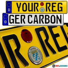 CARBON FONT PAIR OBLONG GERMAN METAL PRESSED Number Plates D-GB-NONE badge