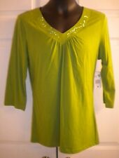 Bobbie Brooks Women's Knit Top Shirt V-Neck 60% Cotton Green 3/4 Slv (sz 8-10)