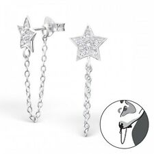 Sterling Silver 925 Cubic Zirconia Star & Chain Ear Jacket / Double Earrings