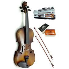 New 1/2 Solid Wood Violin w 2 Brazilwood bows (Black Case)